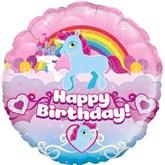 """Unicorn Rainbow Birthday 18"""" Foil Balloon"""