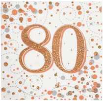 Sparkling Fizz 80th Birthday Rose Gold Napkins 16pk