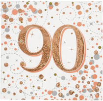 Sparkling Fizz 90th Birthday Rose Gold Napkins 16pk