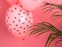 Pastel Pink Printed Hearts Latex Balloons Valentines