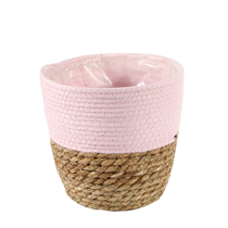 Two Tone Seagrass & Pink Paper Basket