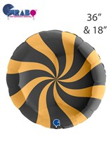 "Swirly Gold & Black 36"" & 18"" Round Foil Balloons"