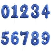 Blue Glitter Moulded Pick Number 0-9 Candles 7cm