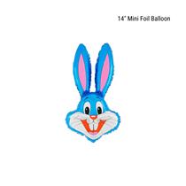 "Blue Bunny Head 14"" Foil Balloon Loose"