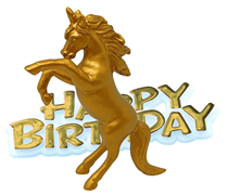 Gold Unicorn & Happy Birthday Resin Cake Toppers