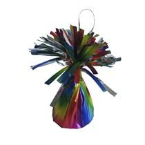 Rainbow tie dye effect foil balloon tassel weight
