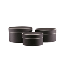 Small Round Black Hat Boxes With Cream Trim 3pk