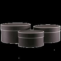 Round Black Hat Boxes With Cream Trim 3pk