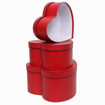 Red Heart Shaped Hat Box Set 3pk