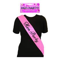 Pink Hen Party Sash (Black Text)