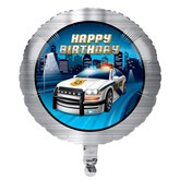 """Police Party Happy Birthday 18"""" Foil Balloon"""