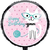 """Purrfect Cat Party Happy Birthday 18"""" Foil Balloon"""