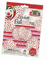 """Clear 12"""" Latex Balloons With Red Heart Confetti 6pk"""