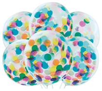 "Pre-Filled Coloured Confetti 12"" Clear Latex Balloons 6pk"