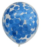 "Pre-Filled Blue Confetti 12"" Clear Latex Balloons 6pk"
