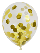 """Pre-Filled Gold Confetti 12"""" Clear Latex Balloons 6pk"""
