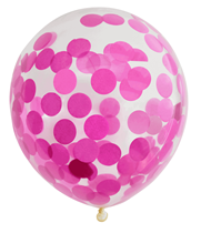"""Pre-Filled Pink Confetti 12"""" Clear Latex Balloons 6pk"""