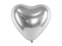 "Glossy Silver Heart Shaped 11"" Latex Balloons 50pk"