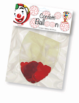 """Clear 3ft (36"""") Latex Balloon With Red Heart Confetti"""