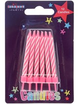 Pink Striped Party Candle 12pk