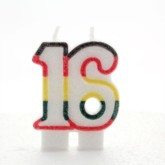Multicoloured Striped Glitter Number 16 Candle