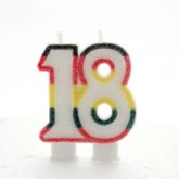 Multicoloured Striped Glitter Number 18 Candle