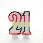 Multicoloured Striped Glitter Number 21 Candle