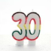 Multicoloured Striped Glitter Number 30 Candle