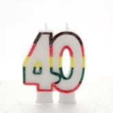 Multicoloured Striped Glitter Number 40 Candle