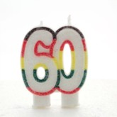 Multicoloured Striped Glitter Number 60 Candle