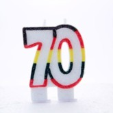 Multicoloured Striped Glitter Number 70 Candle