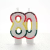 Multicoloured Striped Glitter Number 80 Candle