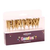 Metallic Gold Happy Birthday Pick Candles