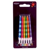 Striped Candles Multi Coloured 12pce