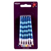 Blue Stripes Party Candles 12pk