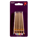 Gold Straight Party Candles 12pk