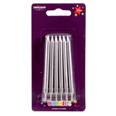 Silver Straight Party Candles 12pk