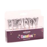 Metallic Silver Happy Birthday Pick Candles