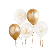 First Holy Communion Gold and White Latex Balloons 6pk