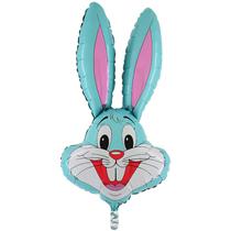 "Baby Blue Bunny Rabbit Head 37"" Foil Balloon Loose"