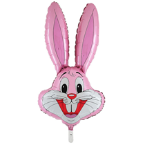 "Baby Pink Bunny Rabbit Head 37"" Foil Balloon Loose"