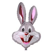 "Grey Bunny Rabbit Head 37"" Foil Balloon Loose"