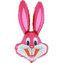 "Hot Pink Bunny Rabbit Head 37"" Foil Balloon Loose"