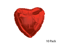 """Red Love Heart 18"""" Foil Balloons 10pk (Loose)"""