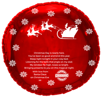 Christmas Eve Santa Arrival Red Round Foil Balloon