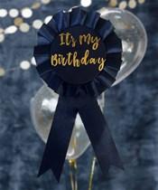 Navy & Gold It's My Birthday Rosette Badge