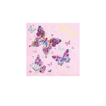 Metallic Butterfly Thank You Cards with Envelopes - 6pk