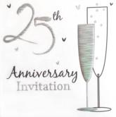 25th Anniversary Invitations with Envelopes - 6pk