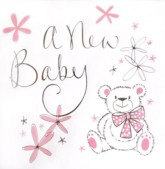 A New Baby Girl Teddy Bear Cards and Envelopes - 6pk