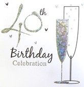 40th Birthday Silver Party Invitations with Envelopes - 6pk